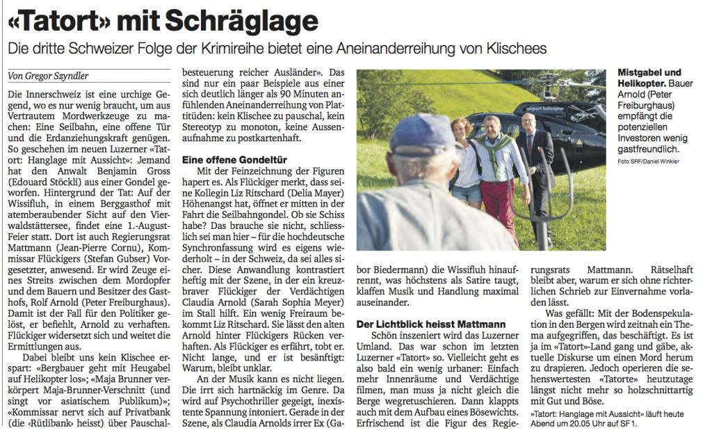 """BaZ-Rezension vom 26.8.12, zum Luzerner Tatort """"Hanglage"""""""
