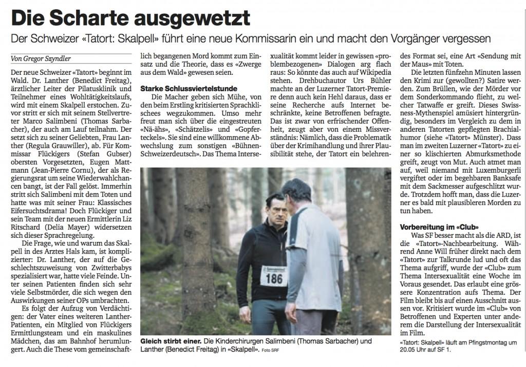 """Meine Besprechung des Tatorts """"Skalpell"""" in der BaZ vom 27.5.12"""